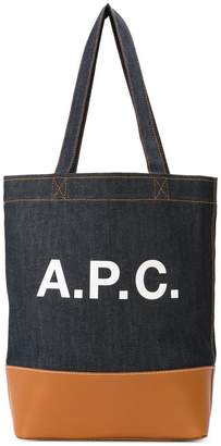 A.P.C. logo denim tote bag