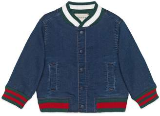 Baby jersey denim bomber jacket with Web $380 thestylecure.com