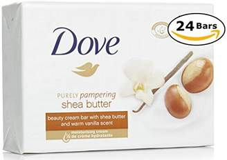 Dove Purely Pampering Shea Butter Beauty Bar with Vanilla Scent Soap 3.5 Oz/100 Gr (Pack of 24 Bars)