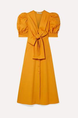 Silvia Tcherassi Miosotis Bow-embellished Cotton-poplin Midi Dress - Saffron