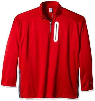 Russell Athletic Men's Big and Tall LS 1/4 LC Zip Pkt Withr Logo