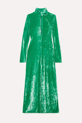 ATTICO Buckled Cutout Stretch-velvet Dress - Green