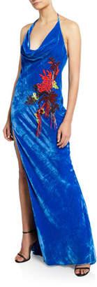 Cushnie Embroidered Velvet Halter Neck Gown