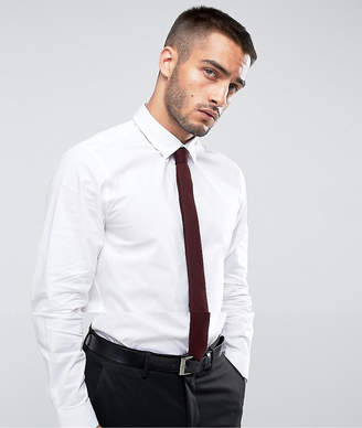 Asos Design Slim Shirt In White With Burgundy Tie SAVE
