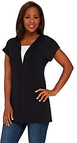 Susan Graver Premier Knit Extended Sleeve Tunicw/ V-Neck Inset