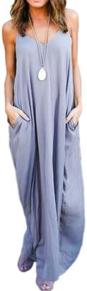 Lettre d'amour Women Elegant Deep V-Neck Sleeveless Maxi Boho Split Dress With Pockets Plus Size L