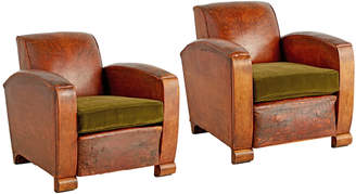 Rejuvenation Pair of French Art Deco Leather Club Chairs w/ Velvet Cushions