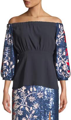 Tanya Taylor Nina Sequin-Sleeve Off-the-Shoulder Top