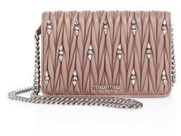 Miu Miu Miu Miu Matelasse Leather & Crystal Chain Wallet