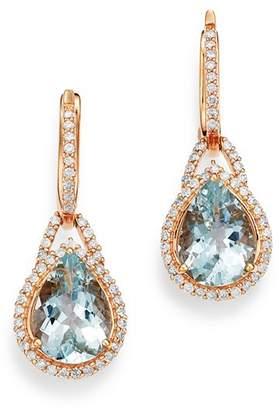 Bloomingdale's Aquamarine & Diamond Teardrop Drop Earrings in 14K Rose Gold - 100% Exclusive