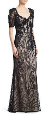 Teri Jon by Rickie Freeman Short-Sleeve Lace Gown