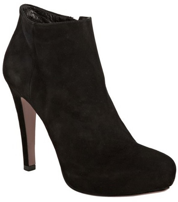 Prada black suede classic ankle booties