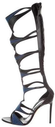 Casadei Denim Cage Sandals
