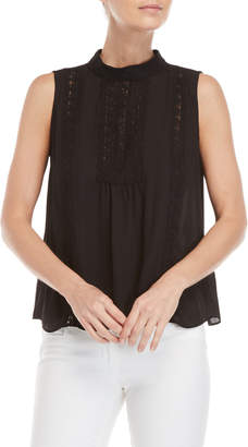 London Times Petite Black Sleeveless Embroidered Top