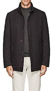 Luciano Barbera Men's Diamond-Quilted Tech Jacket - Navy