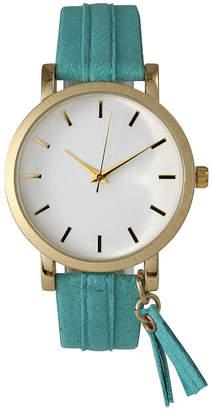OLIVIA PRATT Olivia Pratt Tassle Charm Womens Green Strap Watch-15984