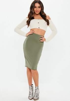 Missguided Khaki Basic Jersey Midi Skirt