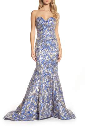Mac Duggal Metallic Jacquard Mermaid Gown
