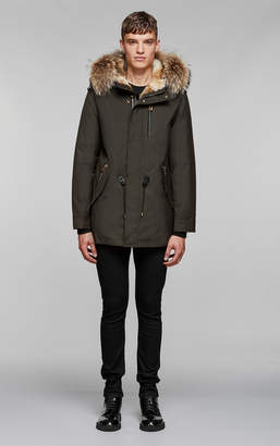 Mackage SETH hip length twill parka with hood and natural fur