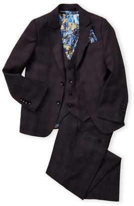 Isaac Mizrahi Boys 8-20) Charcoal 3-Piece Tonal Plaid Suit