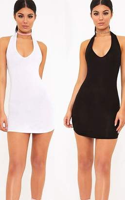 PrettyLittleThing 2 White & Black Basic Halterneck Bodycon Dress