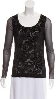 Fuzzi Velvet-Accented Mesh Top w/ Tags