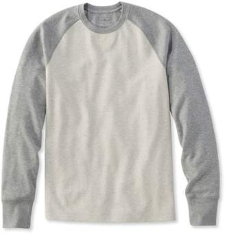 L.L. Bean L.L.Bean Washed Cotton Double-Knit Crewneck, Slightly Fitted Long-Sleeve Colorblock