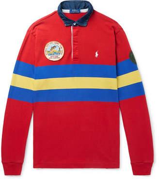 Polo Ralph Lauren Logo-Embroidered Appliquéd Striped Jersey Polo Shirt