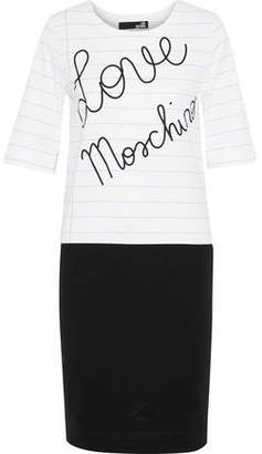 Love Moschino Paneled Printed Cotton-Blend Jersey Dress
