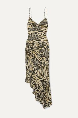 Nicholas Asymmetric Ruched Zebra-print Silk Crepe De Chine Midi Dress - Neutral