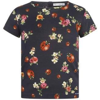 Dolce & Gabbana Dolce & GabbanaGirls Navy Floral Ladybug Top
