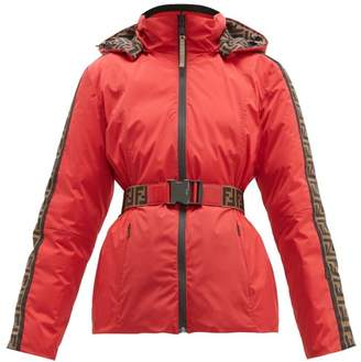 Fendi Rama Ff Print Belted Reversible Ski Jacket - Womens - Red