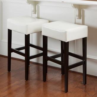Noble House Williams Ivory Leather Backless Bar Stools (Set of 2)