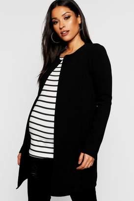 boohoo Maternity Collarless Smart Duster Jacket