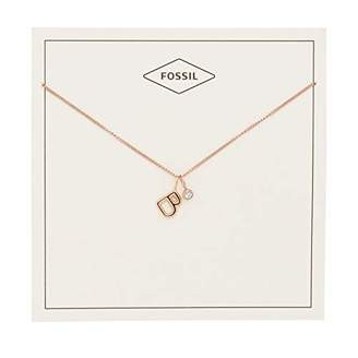Fossil Women's Letter B -Tone Stainless Steel Necklace