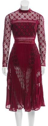 Self-Portrait Sheer-Lace Mock-Neck Dress