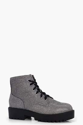 boohoo Shimmer Low Ankle Chunky Hiker Boots