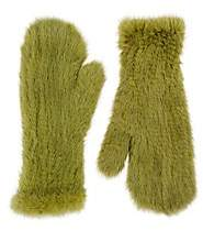 Barneys New York Women's Knitted Mink Fur Mittens - Green