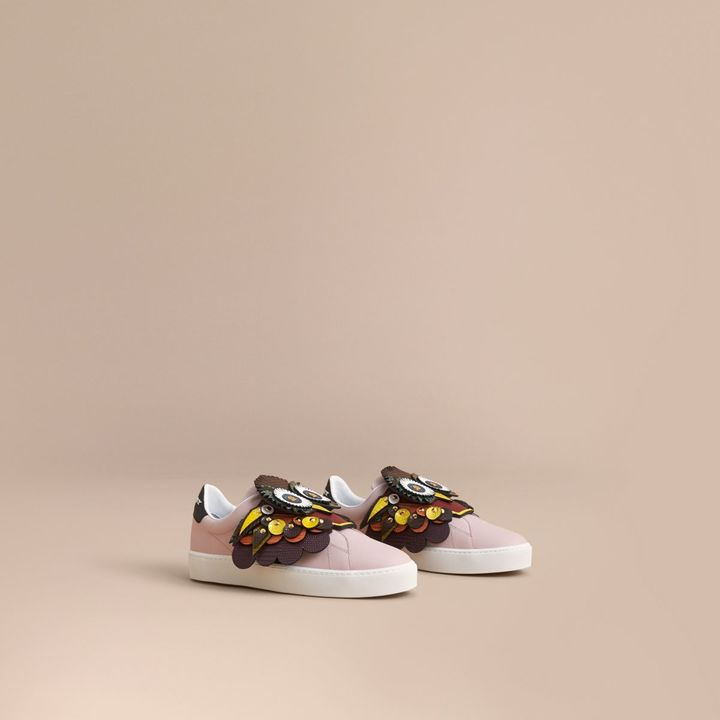 Burberry Beasts Motif Leather Slip-on Trainers