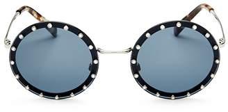 Valentino Embellished Round Sunglasses, 53mm