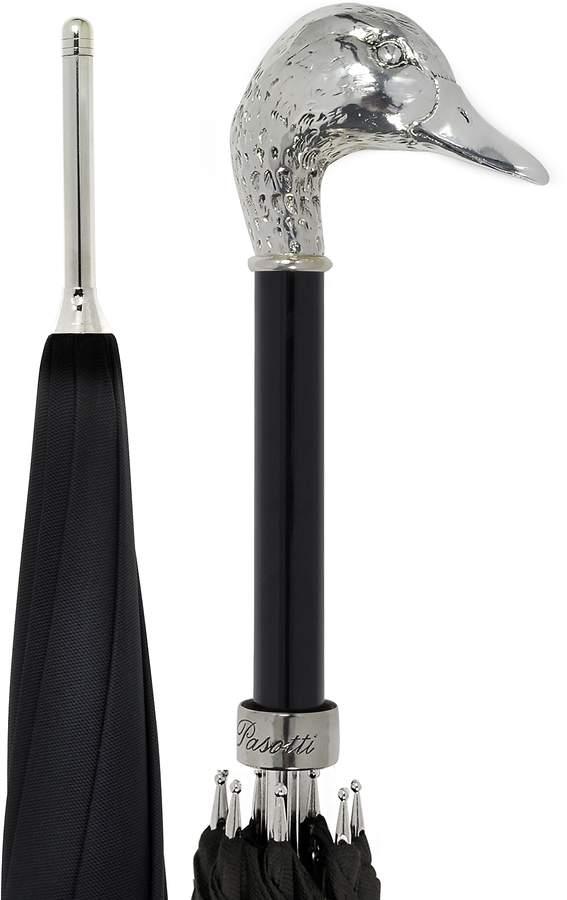 Pasotti Black Unisex Umbrella w/Silvertone Mallard Handle