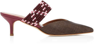 Malone Souliers Maisie Cord-Trimmed Raffia And Leather Mules