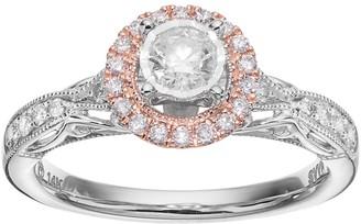Vera Wang Simply Vera Two Tone 14k White Gold 1/2 Carat T.W. Diamond Halo Engagement Ring