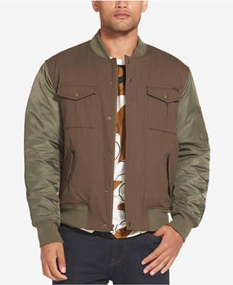 Sean John Men Mixed Media Bomber Jacket