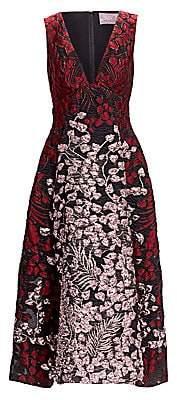 Lela Rose Women's Deep-V Metallic Fit-&-Flare Dress