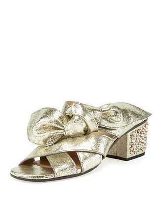 Chloe Leather Bow Chunky-Heel Sandal, Gray Glitter $1,160 thestylecure.com