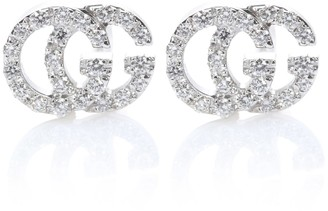 Gucci Running G 18kt white gold diamond earrings