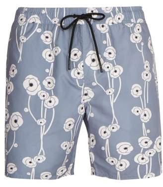 Saturdays NYC Timothy Poppy Print Swim Shorts - Mens - Blue