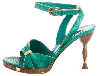 Sergio Rossi Python Slingback Sandals