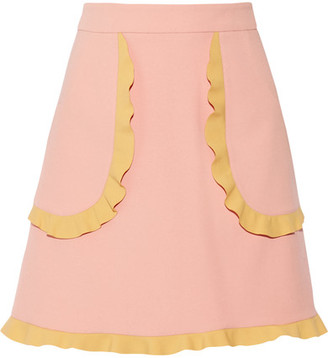 REDValentino - Two-tone Ruffle-trimmed Cady Mini Skirt - Baby pink $395 thestylecure.com